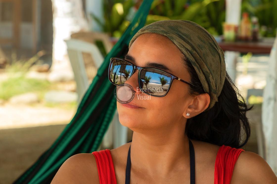 """Tourist Woman watching the sea"" stock image"