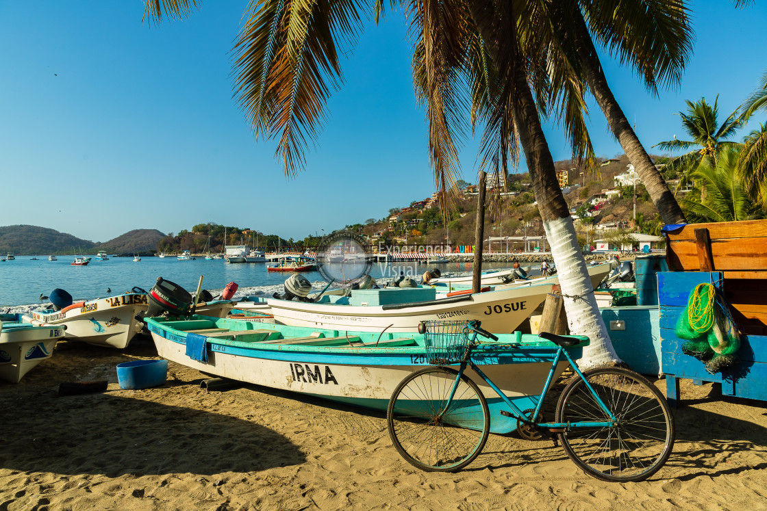 """""""Fishers boats in the beach and bike"""" stock image"""
