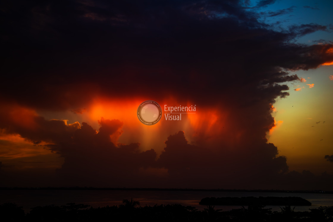 """""""Sunset and clouds in Manzanillo"""" stock image"""
