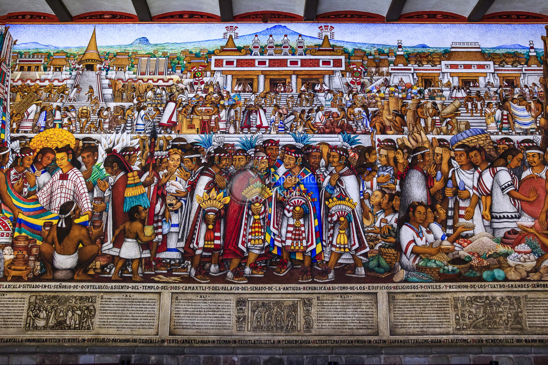 """""""Murals in Government Palace of Tlaxcala III"""" stock image"""