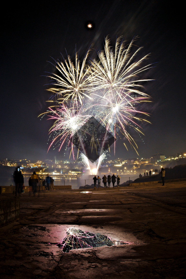 """""""Fireworks over Newquay"""" stock image"""
