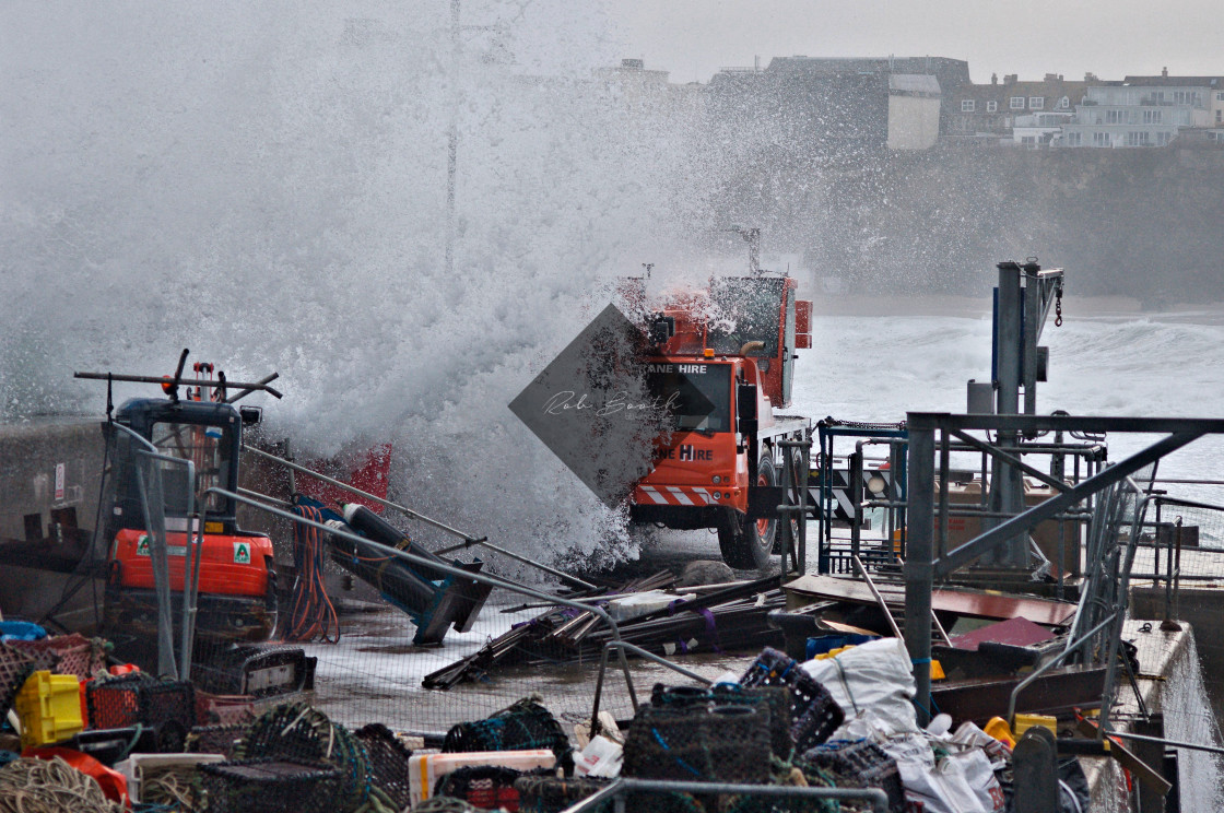 """""""North Quay getting hammered."""" stock image"""