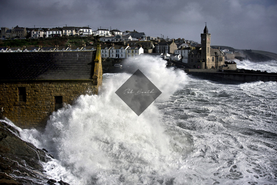 """""""Stormy Porthleven."""" stock image"""
