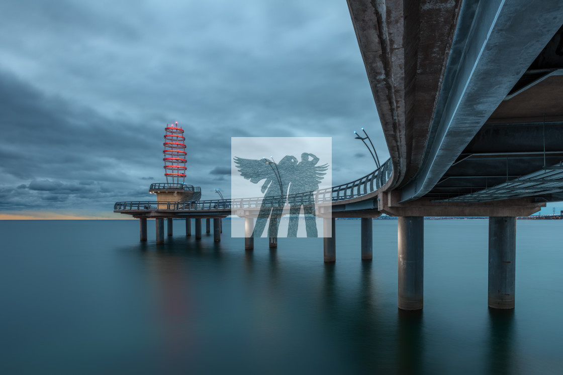 """Under the Brant Street Pier"" stock image"
