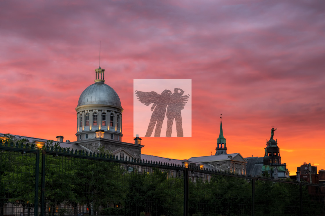 """Sunset in Old Montreal"" stock image"