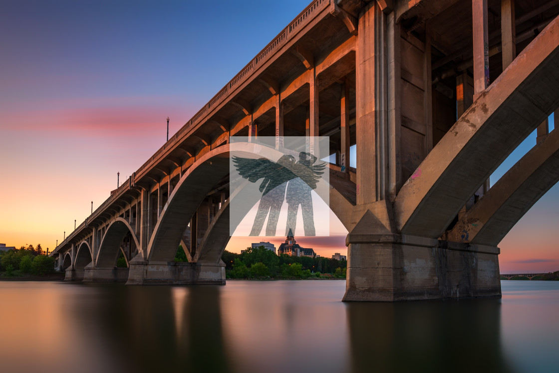 """Sunset Under the Broadway Bridge"" stock image"