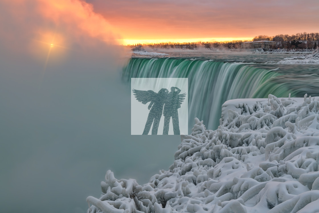 """Winter Sunrise - Niagara Falls"" stock image"