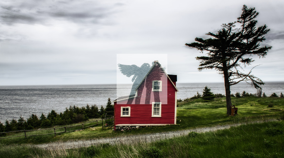 """The Little Red House at Tors Cove Newfoundland"" stock image"