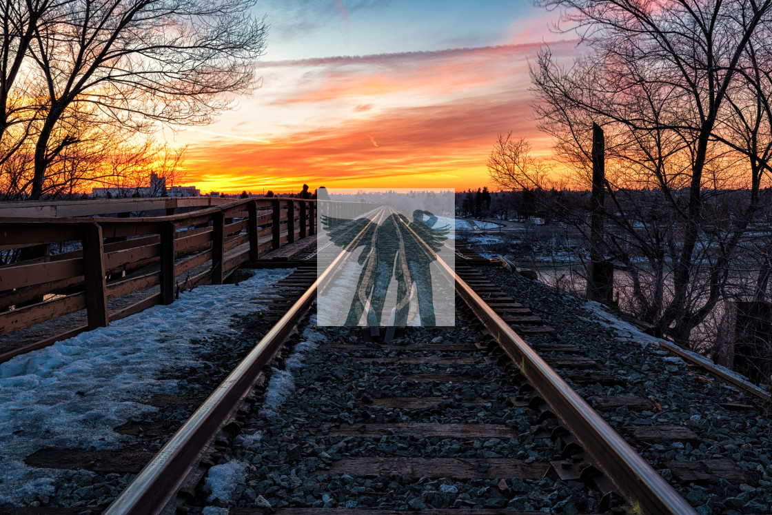 """Sunset Tracks II"" stock image"