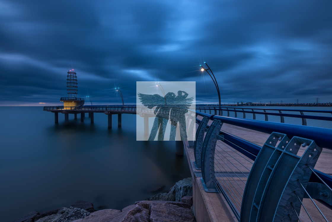 """""""Blue Hour at the Brant Street Pier"""" stock image"""
