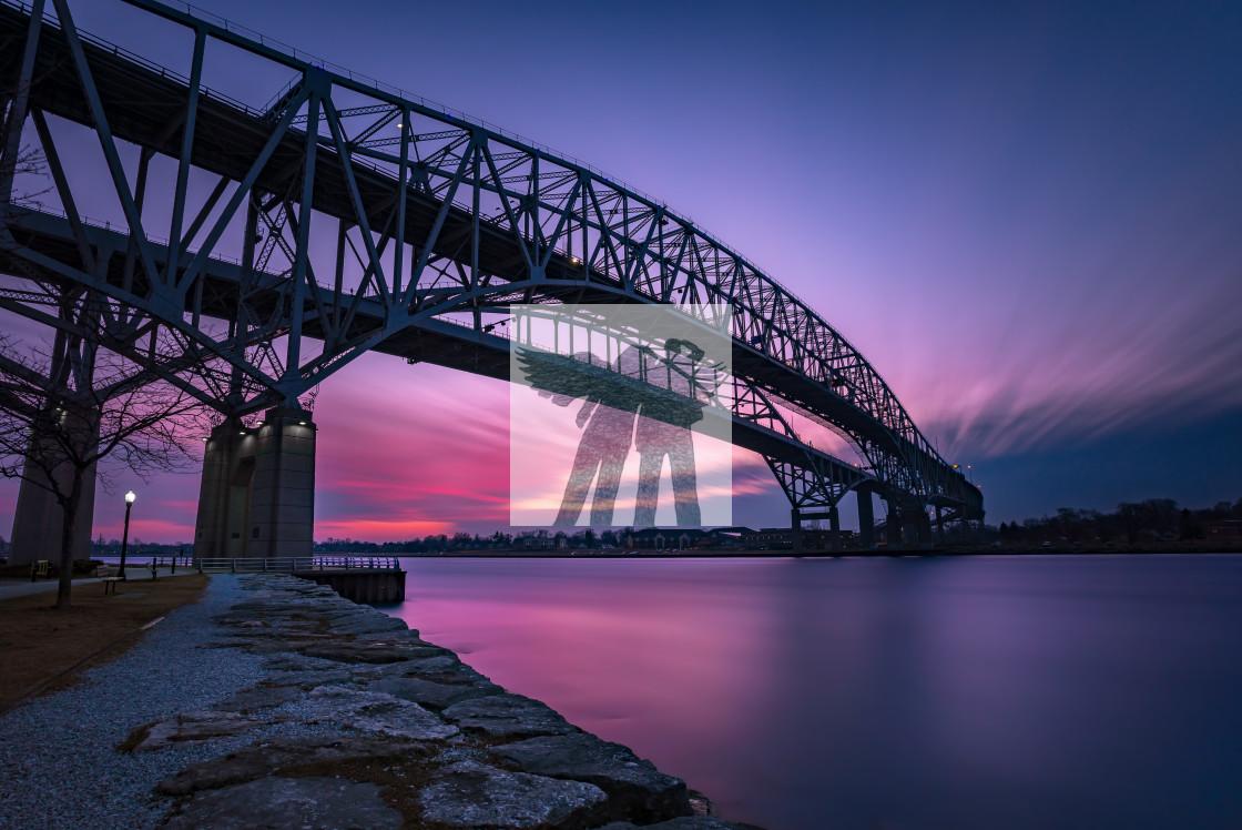 """Bluewater Bridge Sunset in Sarnia Ontario Canada"" stock image"