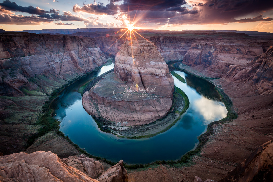 """Sunset at Horseshoe Bend, Page, Arizona, USA"" stock image"
