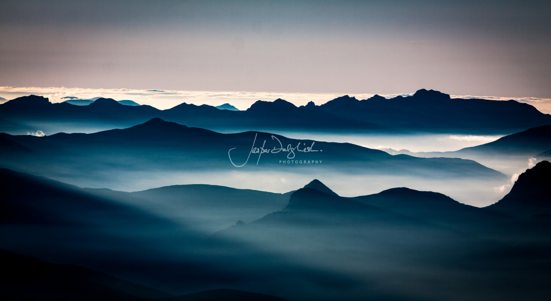 """Sunset, Pic du Midi, Pyrenees, France"" stock image"