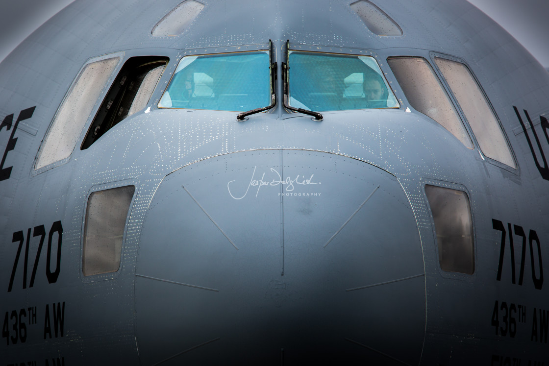 """A USAF Globe Master III, Farnborough Airshow, Hampshire, UK"" stock image"
