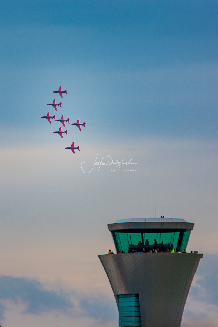 """Red Arrows, Farnborough, Hampshire, UK"" stock image"