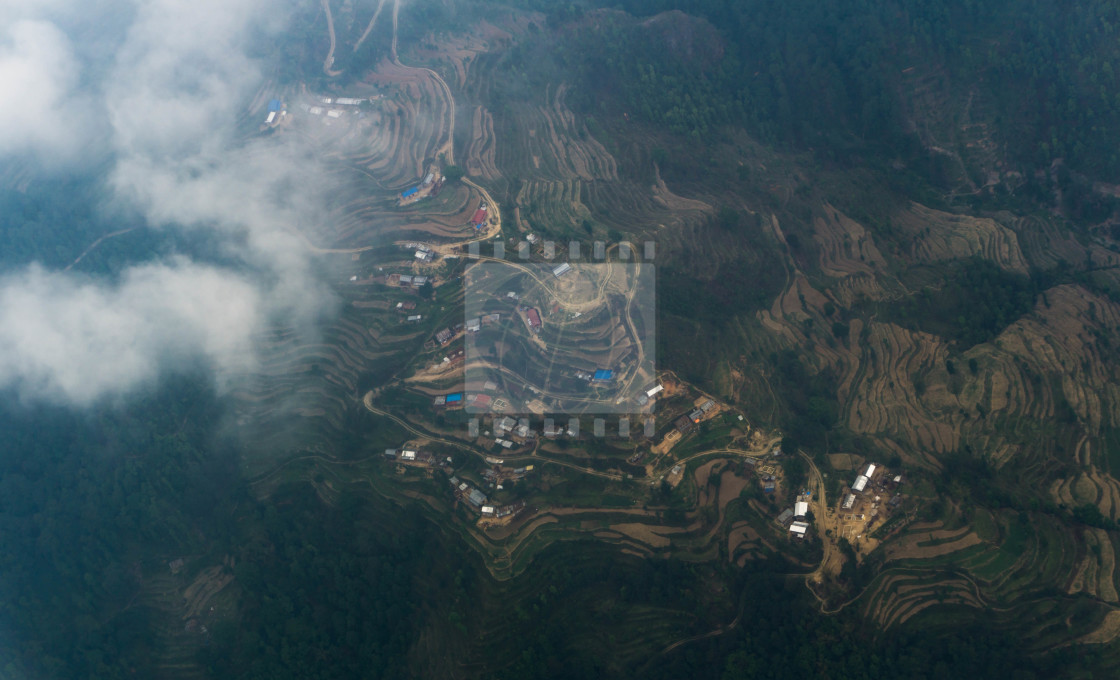 """""""Airview to Nepal villages"""" stock image"""