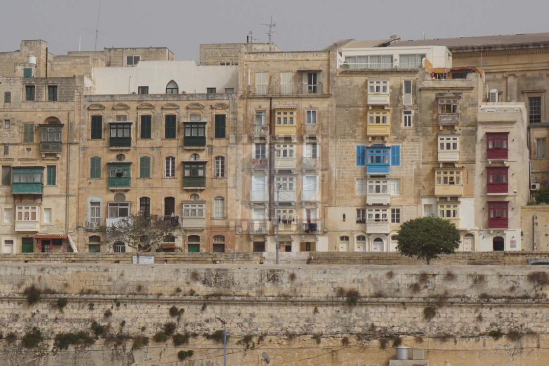 """""""Front view of houses on Malta island"""" stock image"""