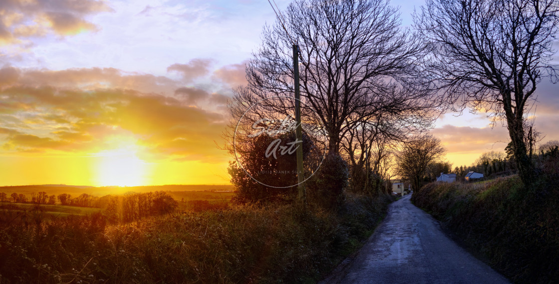 """Rural road in Sunset"" stock image"