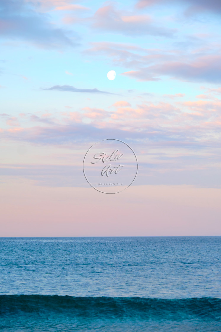 """""""Moon Over Wave"""" stock image"""