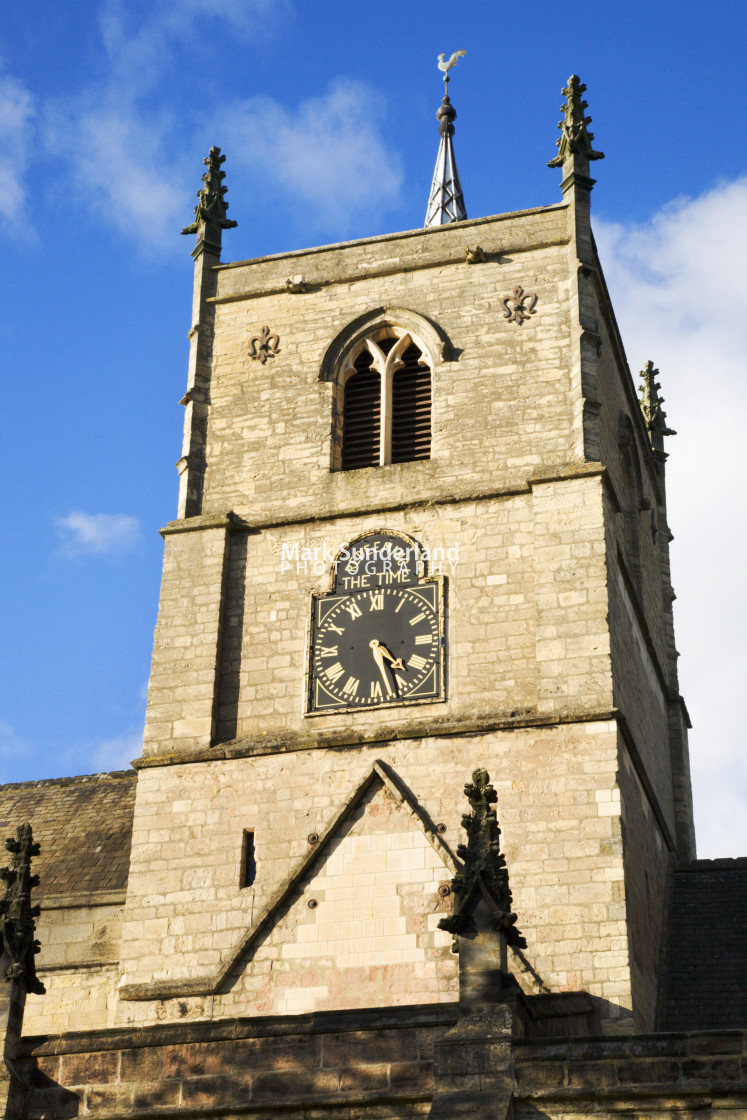 """St Johns Church Clock Tower Knaresborough North Yorkshire England"" stock image"
