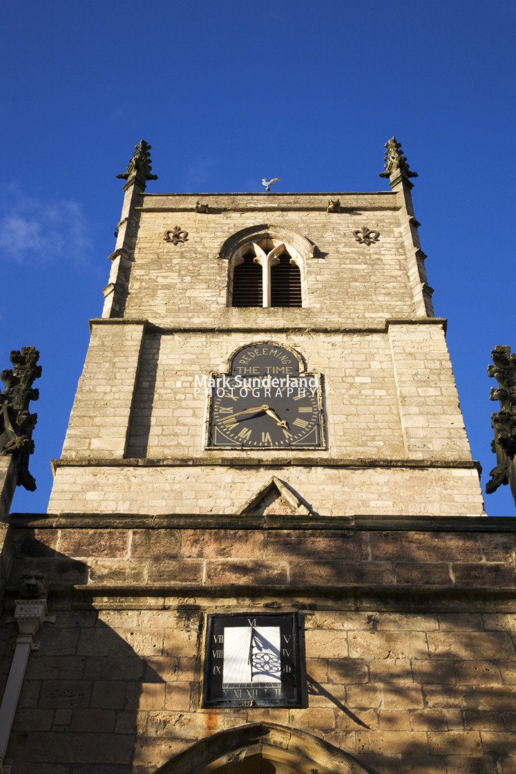 """St Johns Church Sundial and Clock Tower Knaresborough North Yorkshire England"" stock image"