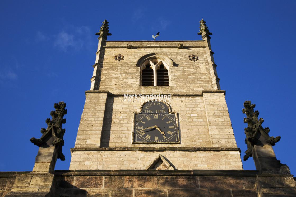 """St Johns Church Clock Tower Knaresborough North Yorkshire England"" stock image"