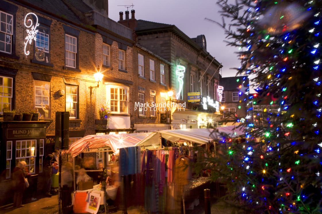 """Christmas Market at Knaresborough"" stock image"