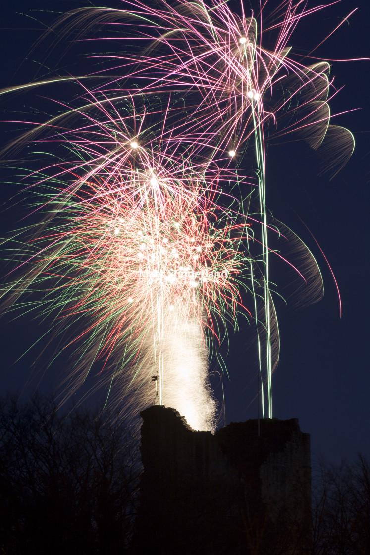"""Christmas Market Finale Firework Display over Knaresborough Castle Yorkshire..."" stock image"