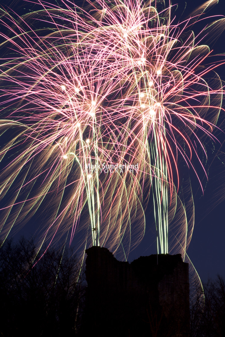 """Christmas Market Finale Firework Display at Knaresborough"" stock image"