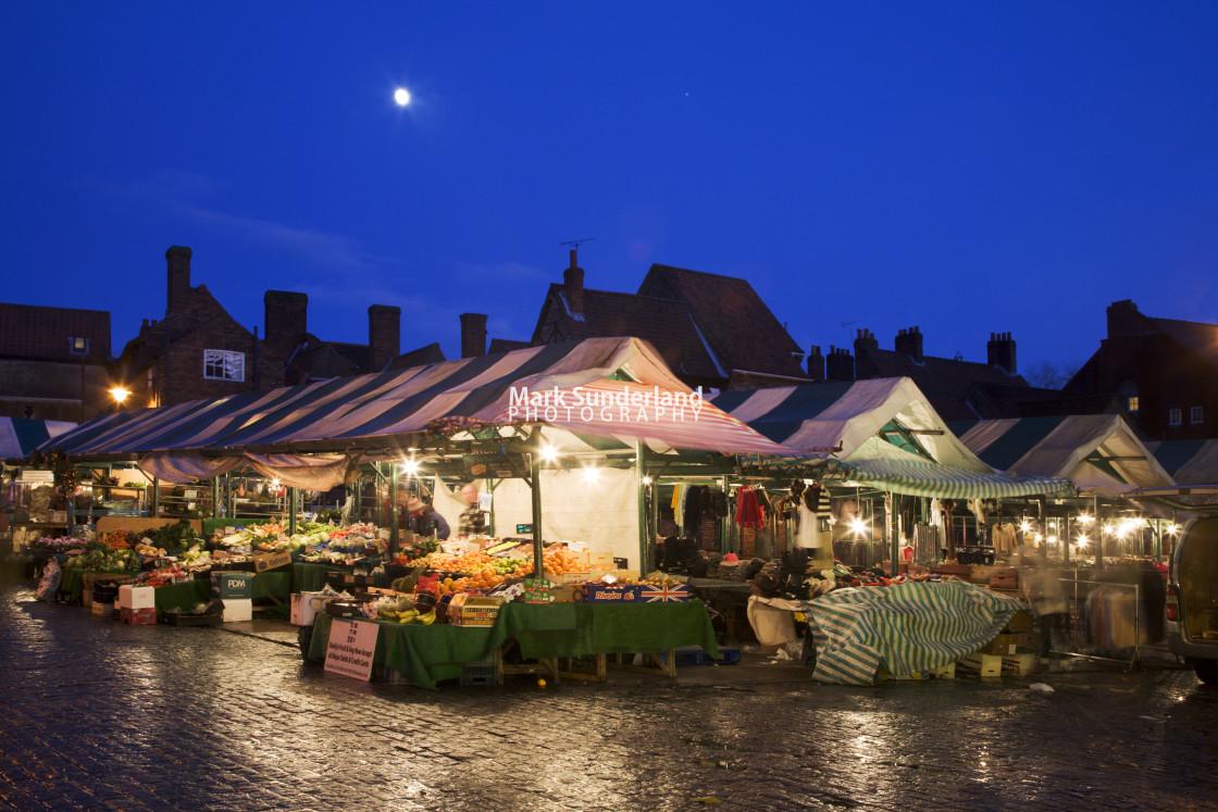 """""""Newgate Market at Dusk York"""" stock image"""
