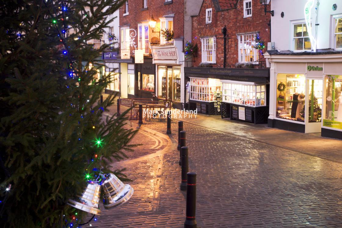 """Market Place at Christmas Knaresborough"" stock image"