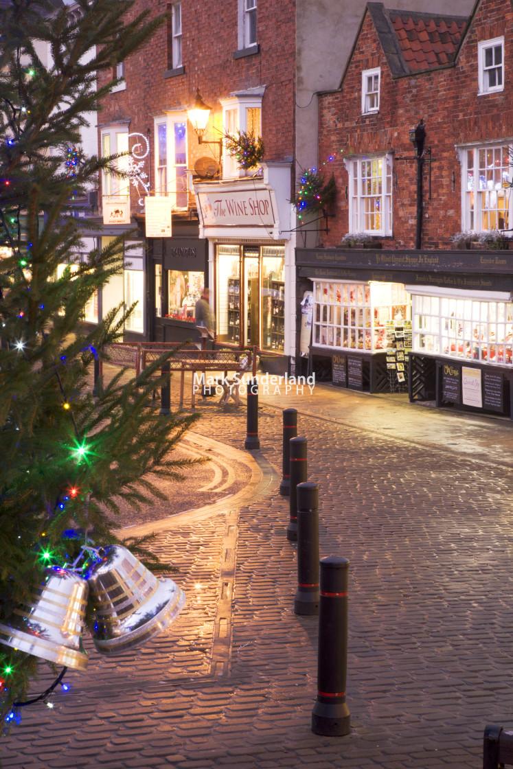 """Market Place at Christmas Knaresborough Yorkshire England"" stock image"