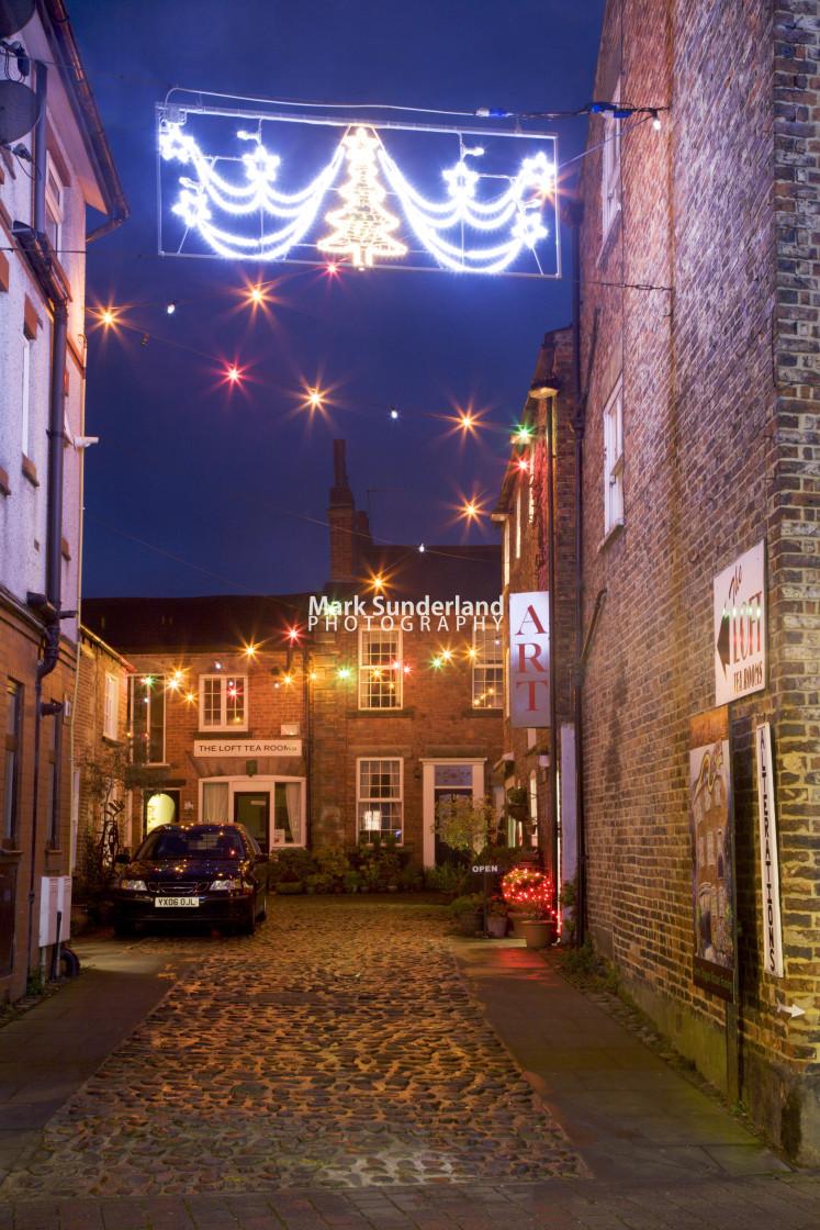 """Green Dragon Yard at Christmas Knaresborough Yorkshire England"" stock image"