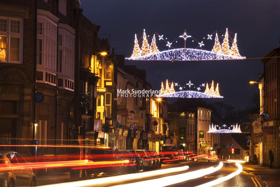 """Christmas Lights on the High Street Knaresborough"" stock image"