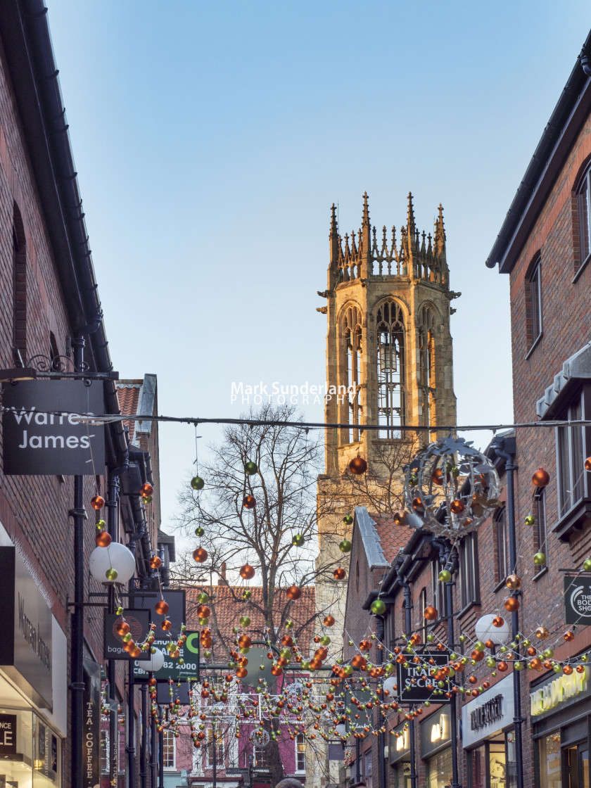 """""""Coppergate at Christmas in York"""" stock image"""