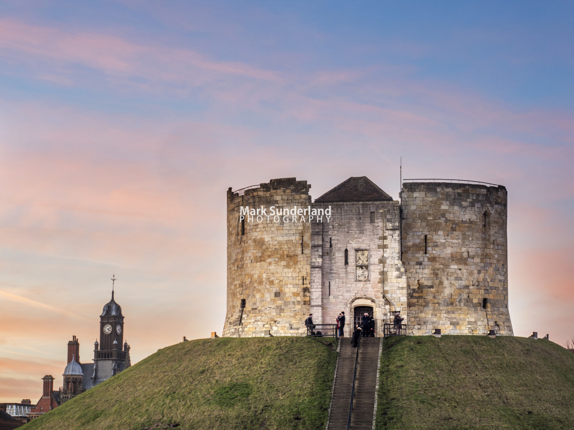 """Cliffords Tower at Dusk York"" stock image"