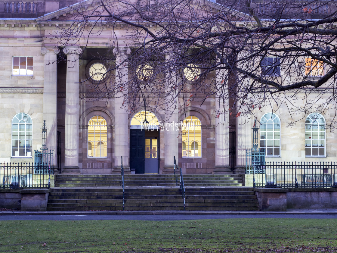 """York Crown Court at Dusk"" stock image"