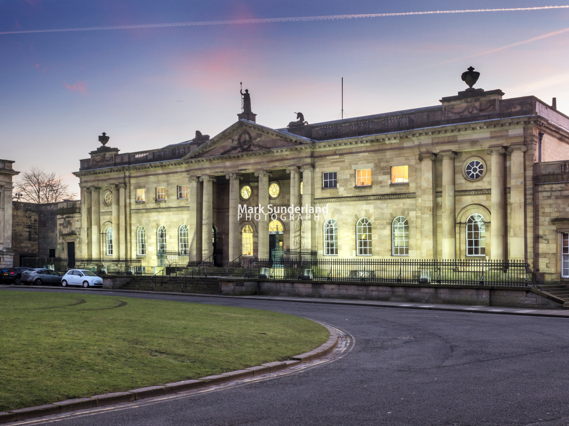 """""""York Crown Court at Dusk"""" stock image"""