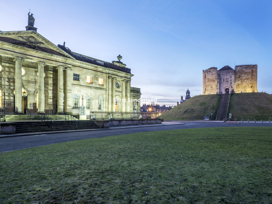 """York Crown Court and Cliffords Tower at Dusk"" stock image"