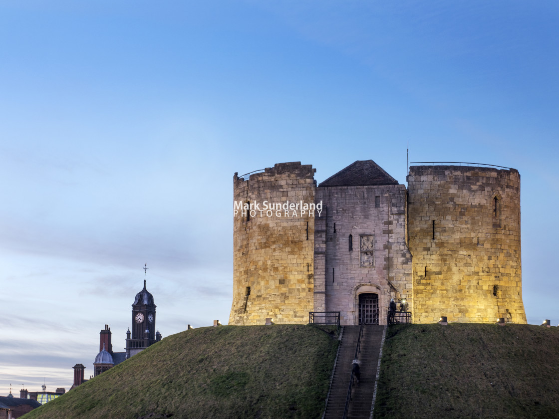 """""""Cliffords Tower at Dusk York"""" stock image"""