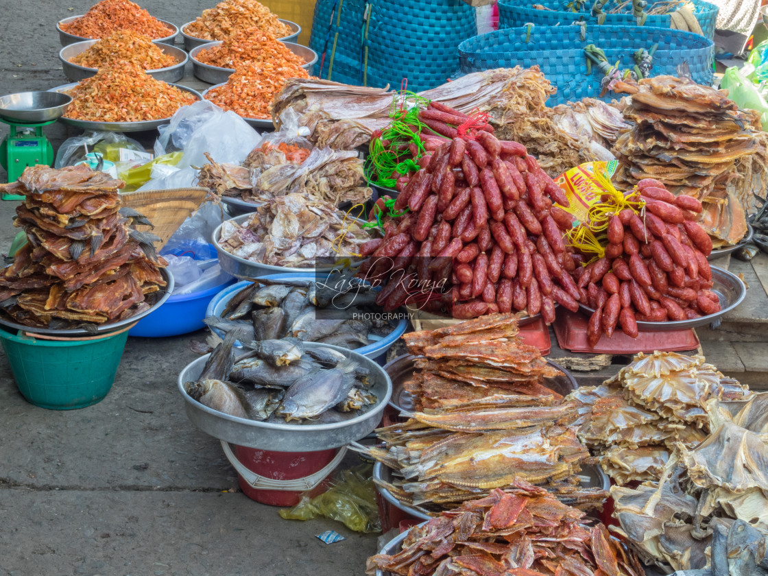"""Dry fish and sausage - Cho An Binh"" stock image"