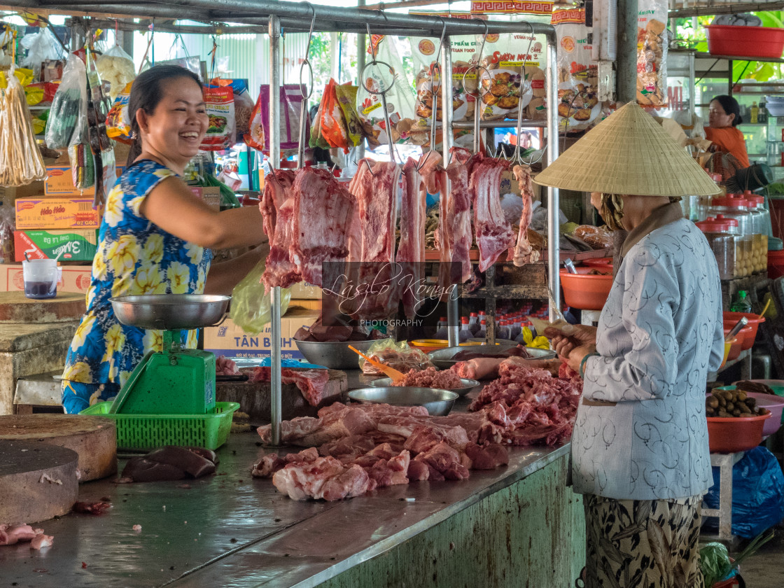 """Meat vendor - Cho An Binh"" stock image"