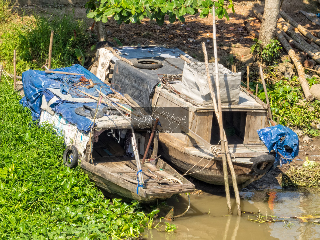 """""""Wooden boats - Can Tho"""" stock image"""