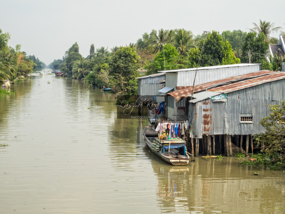 """""""Life on the canal - Phong Dien"""" stock image"""