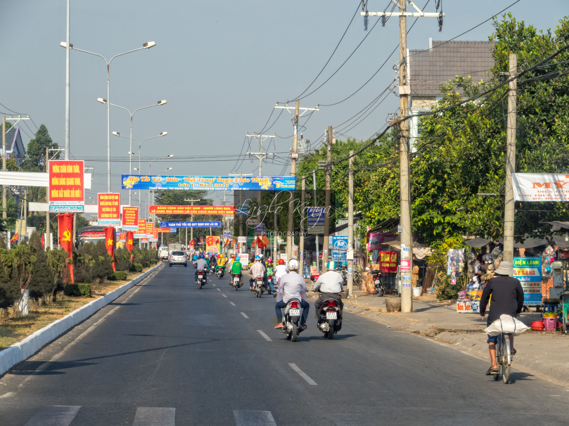 """Morning traffic - Long Xuyen"" stock image"