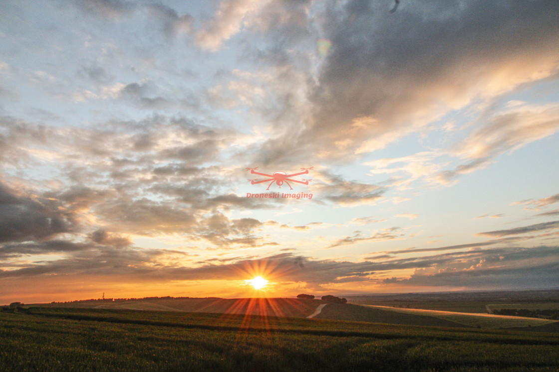 """""""Sunset over Oxfordshire, UK."""" stock image"""