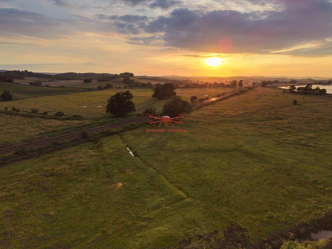 """Sunset over Powderham"" stock image"