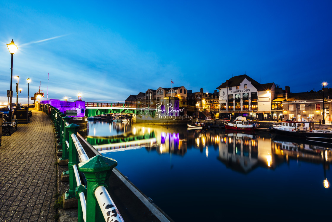 """""""Weymouth Harbour at Night"""" stock image"""