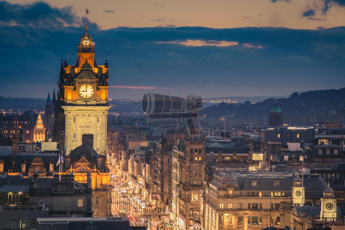 """Edinburgh at night"" stock image"