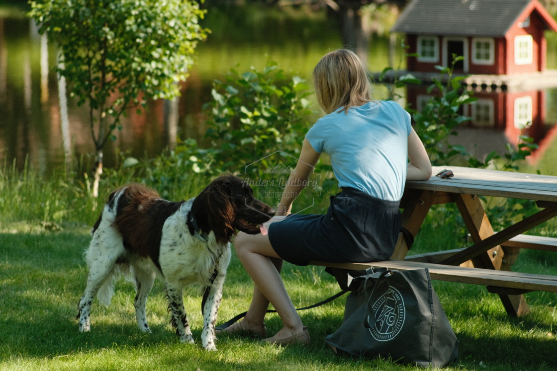 """A girl and her dog"" stock image"